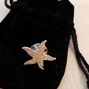 Swarovski Clear Crystal Starfish Tac Tack Pin